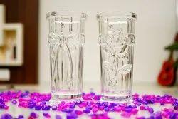 Transparent Crystal Imported Glass Vase, Shape: Cylindrical