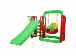 Red / Green 1 Slide And Hanging Swing