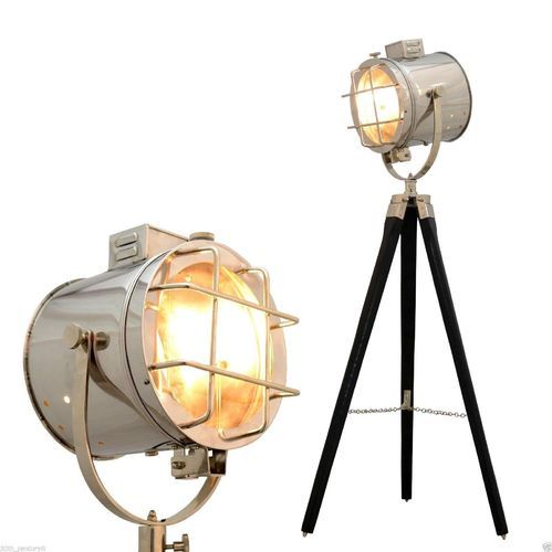 Hollywood Theater Chrome Floor Lamp Searchlight W Steel Tripod Studio Spotlight