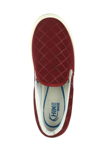 Red Check Casual Slip On Shoes