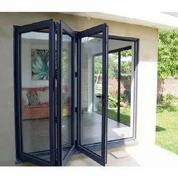 White Toughened Glass UPVC Folding Door, 5 Mm, Exterior
