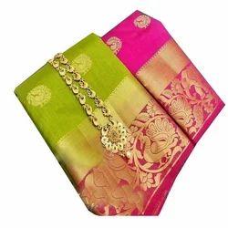 354c9a7144d156 Valkaram Silk Golden   Pink Pink N Golden Silk Sarees