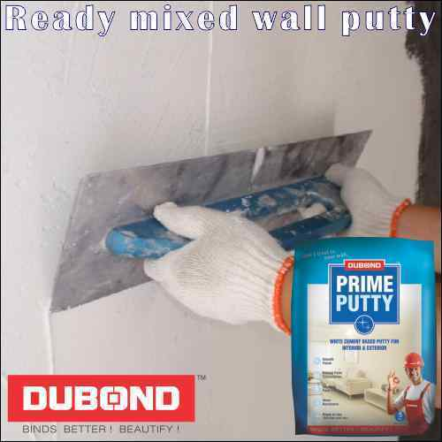 White, Sky Blue Ready Mixed Wall Putty