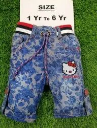 Kids Denim Printed Short