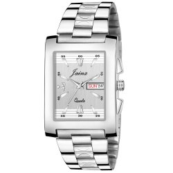 Jainx Square Silver Day and Date Functioning Analog Watch for Men's - JM363