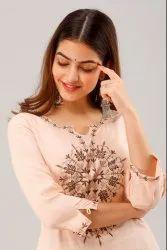 Embroidered Work Casual Wear Straight Rayon Kurti