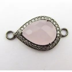 Pink Chalcedony Black Rhodium Plated CZ Set Connector