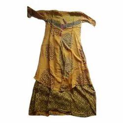 Cotton Party Wear Ladies Yellow Printed Long Kurti