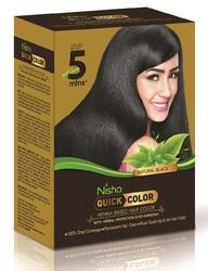 Natural Black Henna Based Hair Color Nisha Quick Color, Pack Size: 6 Pc In 1 Box, for Personal