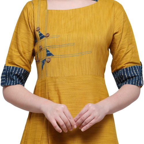 f10634f2bd Online Rahbar Yellow Color Rayon Designer Kurtis at Rs 580 /piece ...