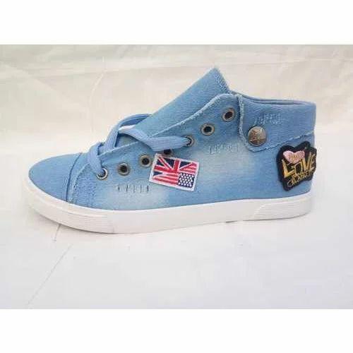 Ladies Sky Blue Denim Trendy Sneaker Shoes b23336c81
