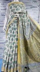 Cotton Tissue Madhubani Print Sarees