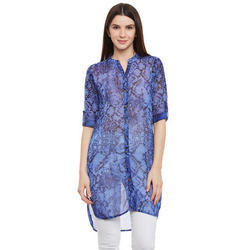 Georgette Blue Printed Ladies Top, Size: S, M & L