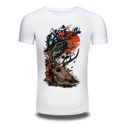 Men's Printed Cotton O-Neck T Shirt