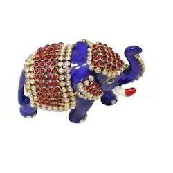 A Beautiful Metal Carving Small Gifting Elephant