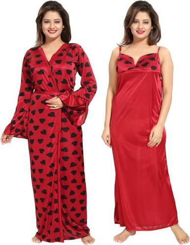 Ladies Full Length Two Piece Heart Printed Night Dress 7e75fdd51