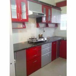 L Shape Modern Plain Modular Kitchen, Kitchen Cabinets, For Residential