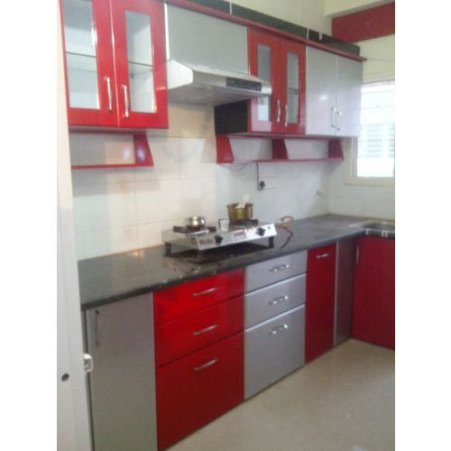 Red White Modular Kitchen
