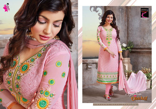 Georgette Pink Embroidered Salwar Suit