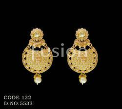 Traditional Antique Pearl Hanging Indian Wedding Earrings