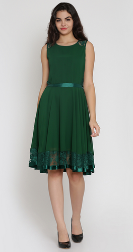 closer at finest selection low cost Green Fit & Flare Dress