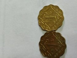 Yellow One Anna 1943 Coin