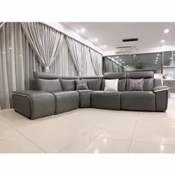 L Shape gray Leather Sofa Set, For Office