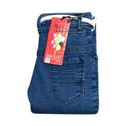 Girls Blue Stretchable Plain Jeans