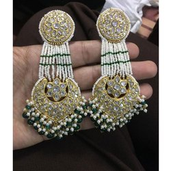 Gold Natural Uncut Diamond Polki Jadau Earring Set