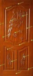 Peacock Leaf Wooden Panel Door