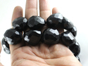 Black Onyx Faceted Nuggets Tumble Beads