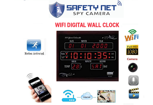 SAFETYNET WiFi Digital Clock Camera, Shape: Square