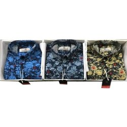 Cotton Casual Wear Mens Floral Printed Shirt, Size: M-XXL