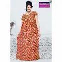 Full Length Half Sleeves Ladies Mahabali Printed Cotton Night Dress