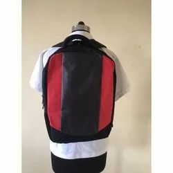 Black-Red Polyester Shoulder Backpack