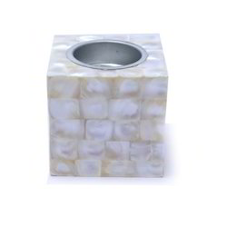 White Color's Mother Off Pearl Square Tea Light Holder