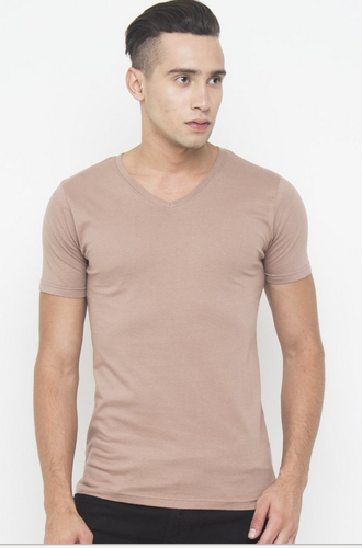 ccfa79a95c1a Cotton Men Muscle Fit V Neck Tee In Brown T Shirt, Size: XL, Rs 399 ...