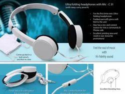 White Ultra Folding Headphones With Mic