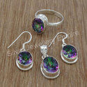 Mystic Gemstone 925 Sterling Silver Jewelry Antique Set