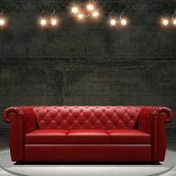 Red Wooden PU Designer Sofa, Living Room, for Home