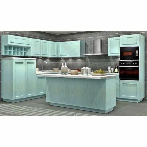 Sleek World PVC Residential Island Kitchen, Kitchen Cabinets