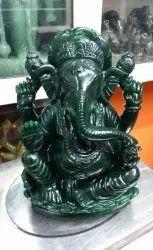 Green Glass Murti Ganesh, Packaging Type: Box