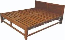 Wooden Furniture Teak Wood King Size Cot, Size: 3 X 6