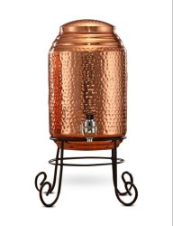 Hammered Copper Water Dispenser Container Pot Tank (Matka) with Stand for Home, Capacity: 5 Ltr