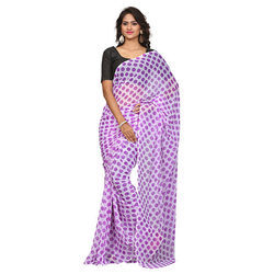 Casual Wear Purple and White Ladies Chiffon Casual Saree With Blouse Piece, Packaging Type: Plastic Bag