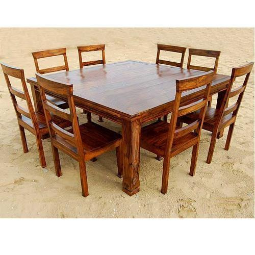 Brown Square Wooden Dining Table Rs 10000 Set Akshaya Wood Interiors Id 14414126012