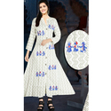 Ladies Cotton White Printed Kurti