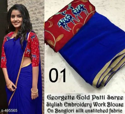 76a89ad366757 Semi Georgette Plain Saree With Embroidered Blouse