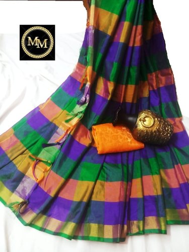 Stunning Color Combo Checked Cotton Silk Saree With Tassels