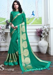Rama Green Fancy Party Wear Saree